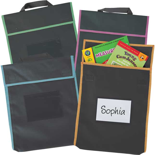Really Good Stuff Paw Prints Book Pouches and Labels Black with Neon Trim Set of 12