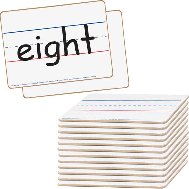 "Mini Non-Magnetic 9""x 6"" 2-Sided Blank And Lined Dry Erase Boards - Set Of 12"