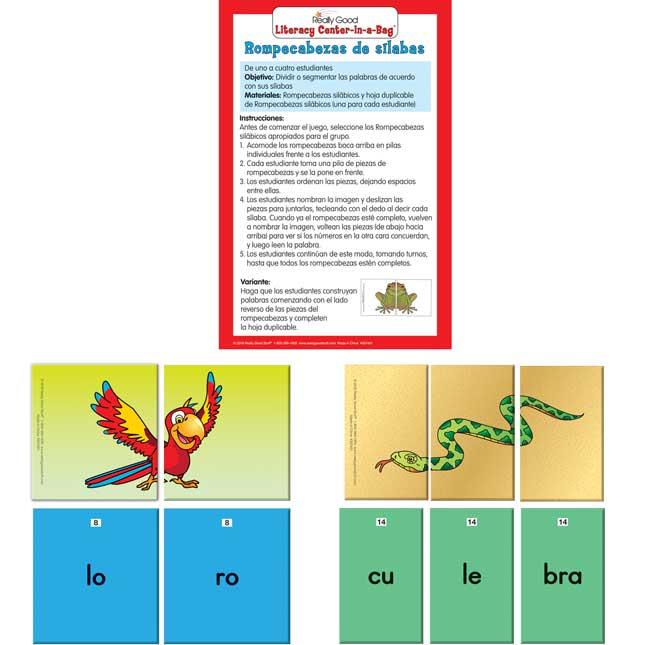 Spanish Syllable Puzzles (Rompecabezas De Silabas)