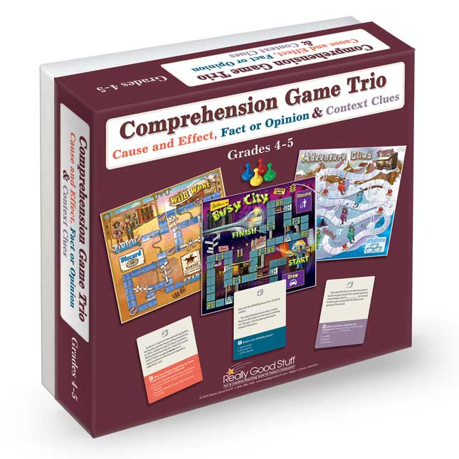 Comprehension Game Trio: Cause And Effect, Fact Or Opinion and Context Clues - Grades 4-5 - 3 games