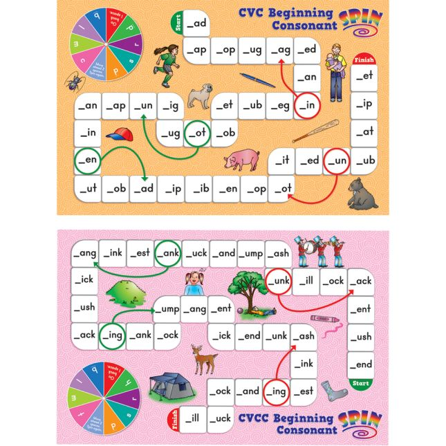Short Vowel Pattern Word Building Board Games