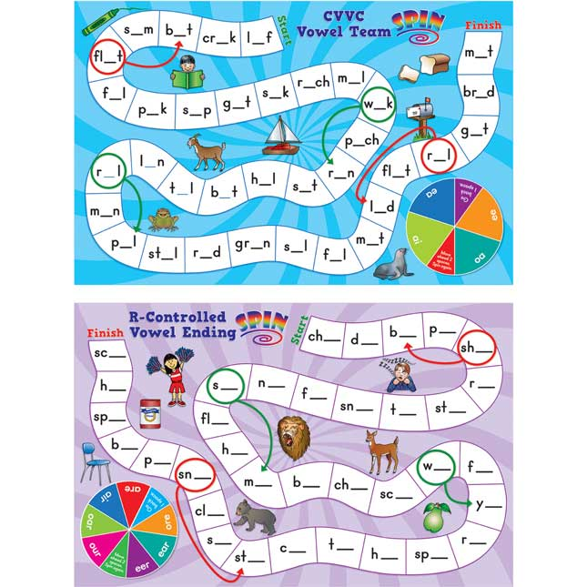 Long and Tricky Vowel Pattern Word Building Board Games - 1 game