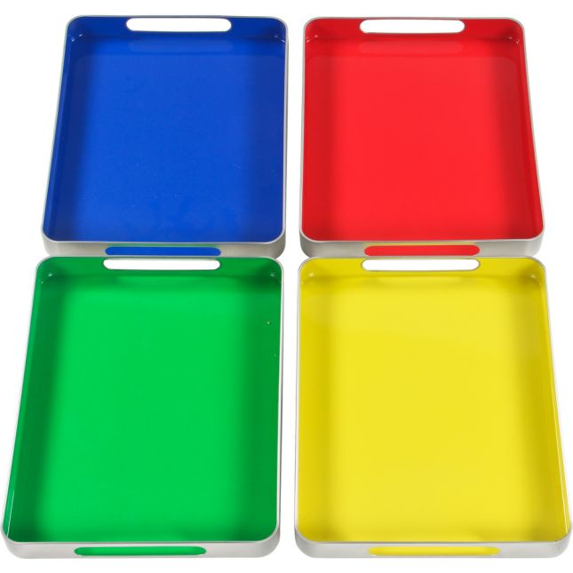 MAGtivity™ Tins With Foam Color-Coded Magnetic Letters Classroom Kit - 240 letters, 1 case, 4 tin trays