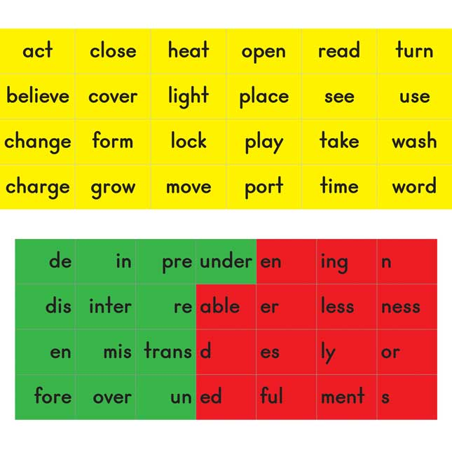 Magnetic Prefix, Base Word, And Suffix Tile Kit