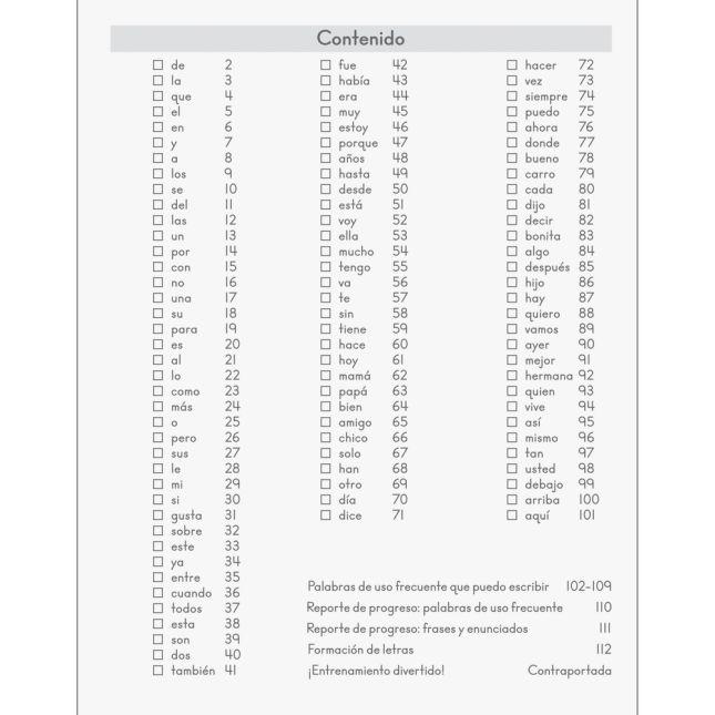 Mi diario de palabras de uso frecuente (Spanish High-Frequency Word Journals) - 12 journals