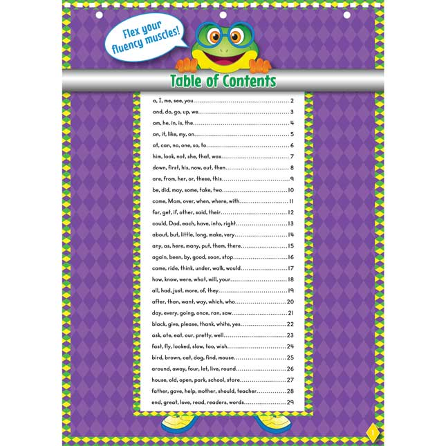 Fluency Fitness Flip Chart Weekly Sight Word Phrases And Sentences