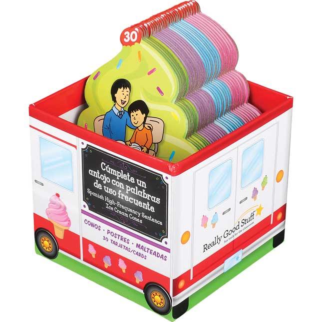 Helados de enunciados de palabras de uso frecuente (Spanish High-Frequency Sentence Ice Cream Cone Cards) - 30 cones, 1 storage box