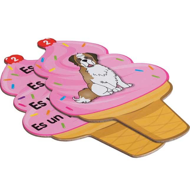 Helados de enunciados de palabras de uso frecuente (Spanish High-Frequency Sentence Ice Cream Cone Cards)