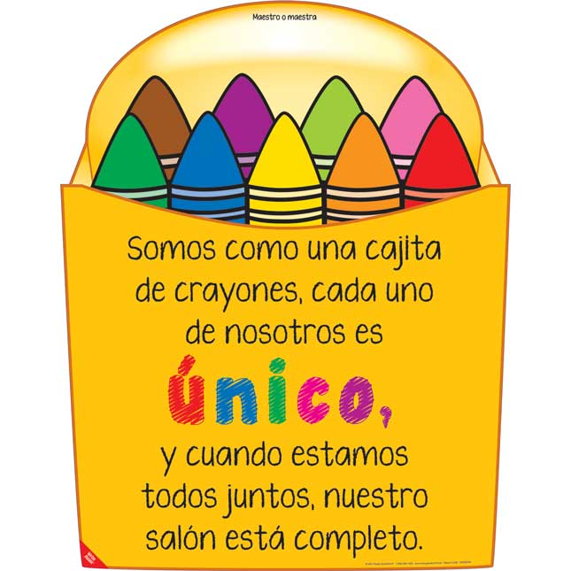 Ready-To-Decorate® Kit de Bienvenida crayones de colores (Spanish Crayon Welcome Kit) - 1 poster, 24 crayons