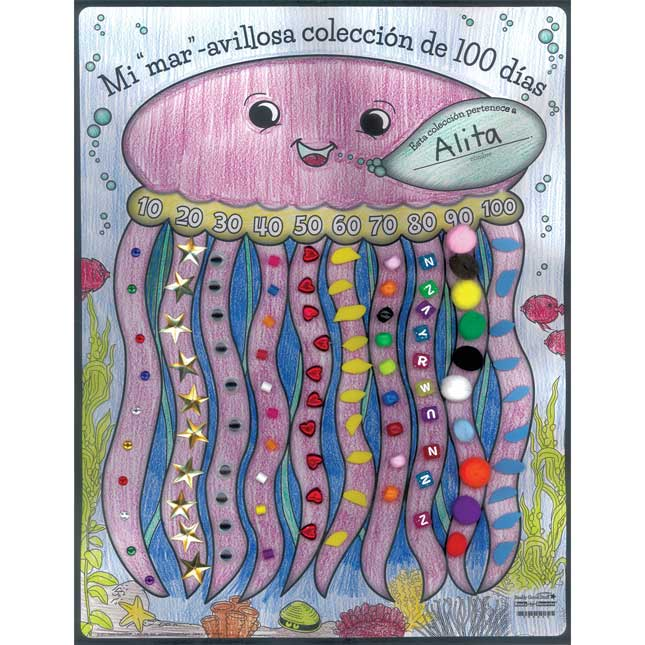 "Póster Mi Colección de 100 Dias (Spanish Ready-To-Decorate® ""Sea"" My 100th Day Collection Posters) - 24 posters"