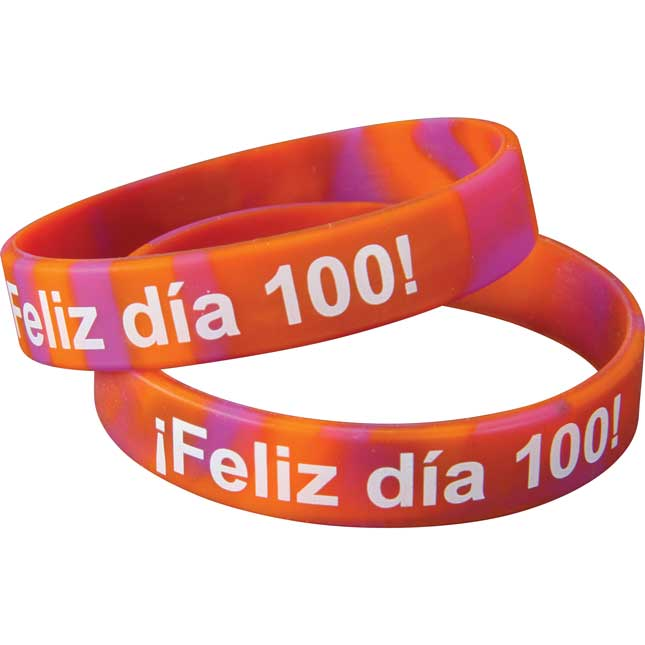 Pulsera de Silicón ¡Feliz día 100! (Spanish Happy 100th Day! Silicone Bracelets) - 24 bracelets