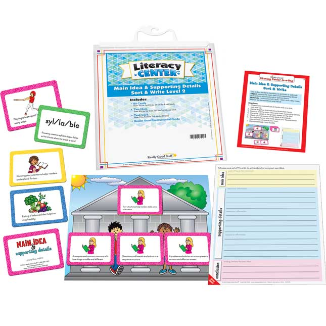Main Idea and Supporting Details Sort and Write Level 2 Literacy Center - Use for Grades 4-5