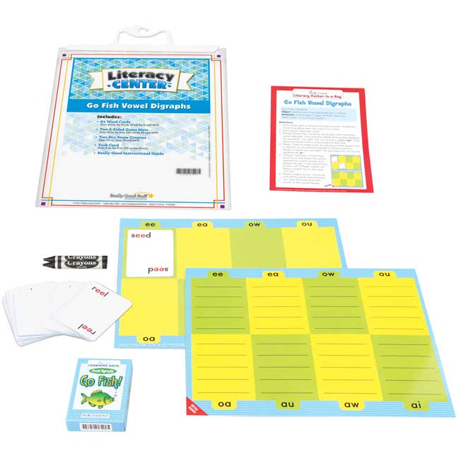 Go Fish Vowel Digraphs Literacy Center - Use for Grades 2-3