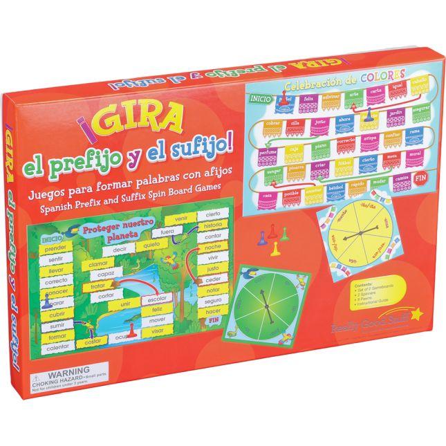 Spanish Prefix And Suffix Spin Board Games (Gira el prefijo y el sufijo)