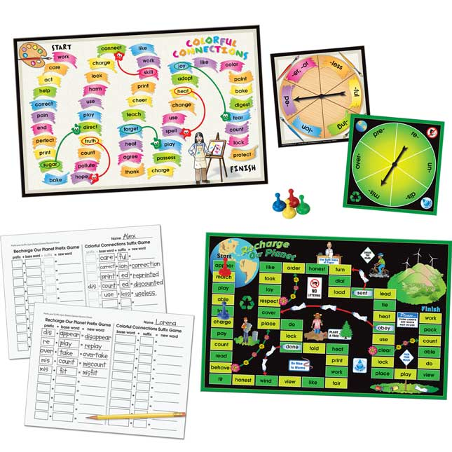 Prefix And Suffix Spin Board Games Dual Language Kit