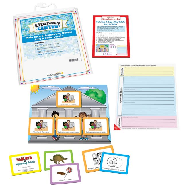 Main Idea and Supporting Details Sort and Write Level 1 Literacy Center - Use for Grades 2-3 - 1 literacy center_0