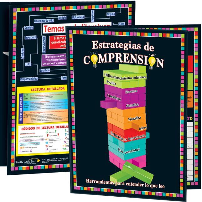 Carpeta Estrategias de comprensión y más (Spanish Comprehension Strategies And More 3-Pocket Folders) - 12 folders
