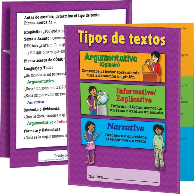 Carpeta Tipos de textos nivel intermedio (Spanish Intermediate Writing Text Types 3-Pocket Folders)