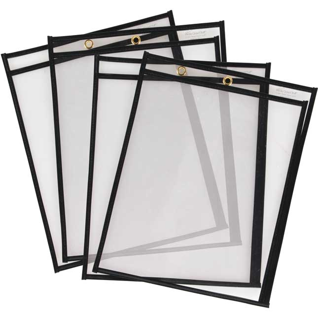 "Top-Loading & Side-Loading Dry Erase Sleeves for Clipboards - 10"" x 13"" - Set of 4 - Black"
