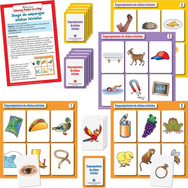 Centro de aprendizaje™: Emparejamiento de sílabas iniciales (Spanish Beginning Syllable Match) - 1 literacy center