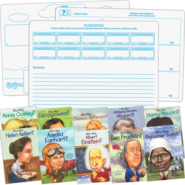 Who Was and #138;? Student Comprehension Dry Erase Graphic Organizer Activity - Set Of 10 Books and 6 Two-Sided Dry Erase Graphic Organizer Boards - Paperback - Grades 3-7