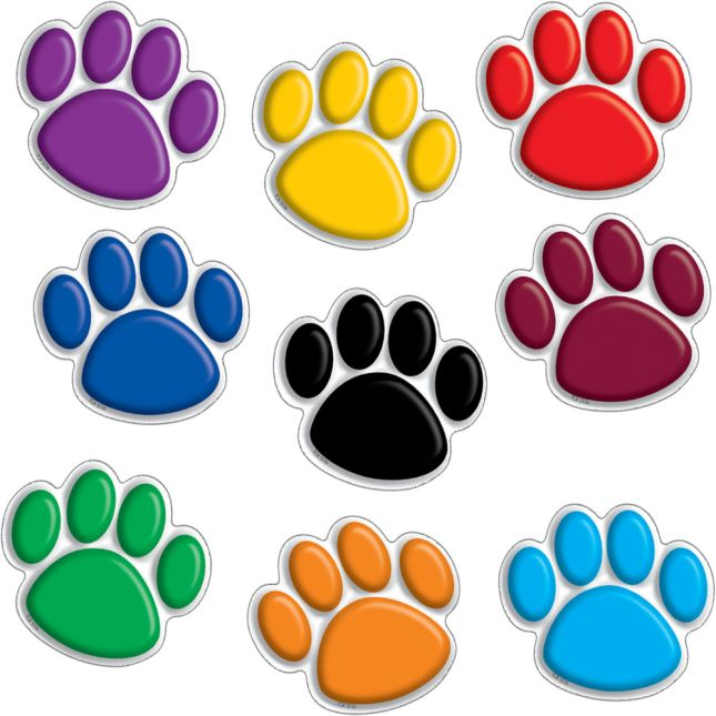 Colorful Paw Prints Mini Bulletin Board Accents - 36 accents