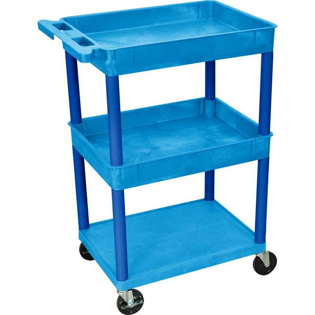 Utility Tub Cart - Blue - Top/Middle Tubs, Bottom Flat Shelf