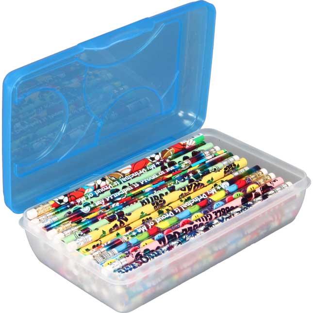 Pencil Storage Box - Clear/Blue