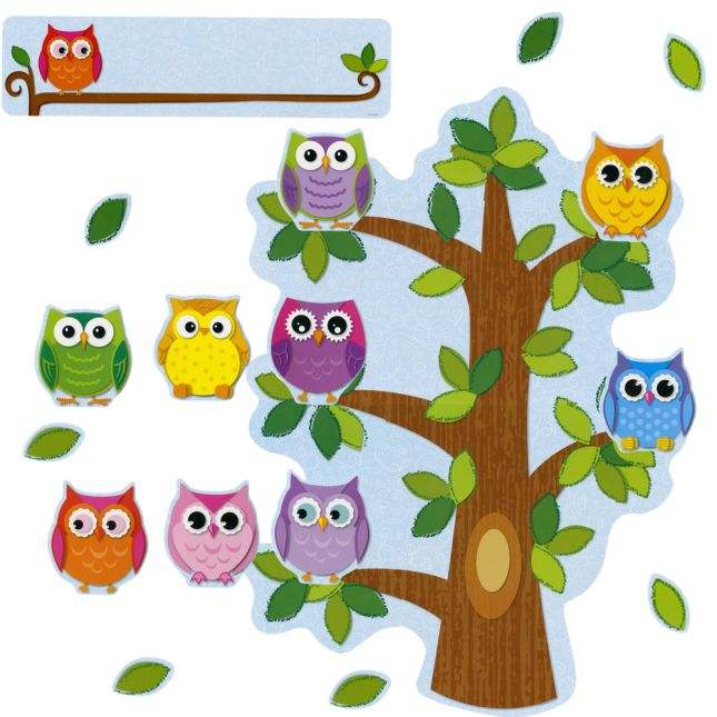 Colorful Owls Class Management Bulletin Board Set