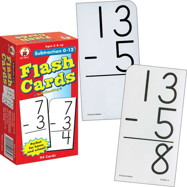 Subtraction 0-12 Flash Cards - 94 flash cards