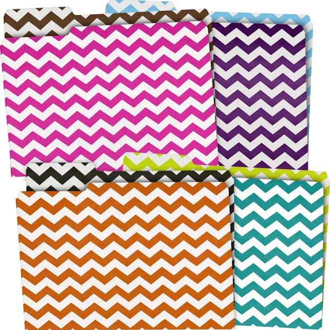 Chevron File Folders - Assorted Colors
