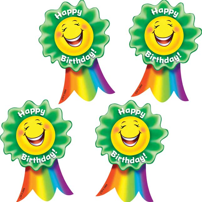Happy Birthday Smiling Ribbon Sticker Badges