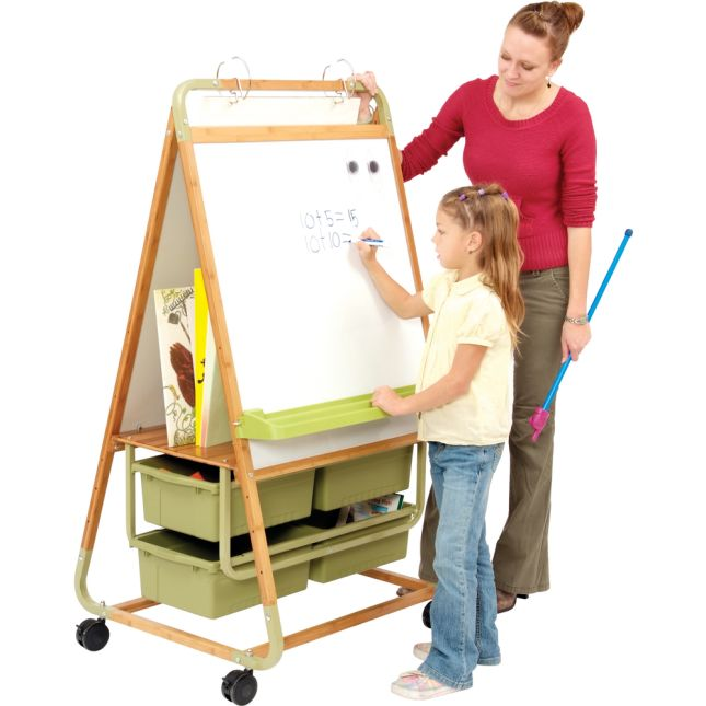 Double Sided Bamboo Teaching Easel - 1 easel, 4 tubs