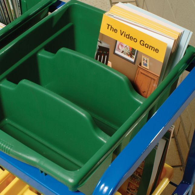 Library On Wheels Cart With 9 Royal Tubs - 1 cart, 9 tubs