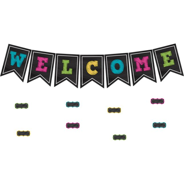 Chalkboard Brights Pennants Welcome Bulletin Board Display - 48 pieces