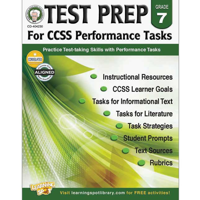 Test Prep For Common Core State Standards Performance Tasks Book - Grade 7