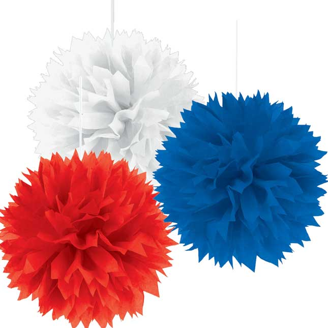 Fluffy Pompom Decorations - Red, White, And Blue