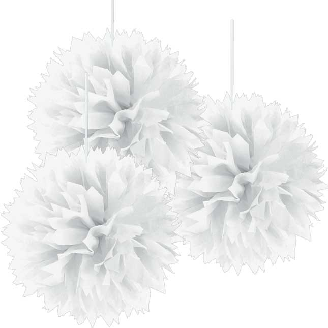 Fluffy Pompom Decorations - White