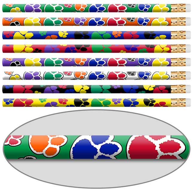 Paw Print Pencils And Erasers