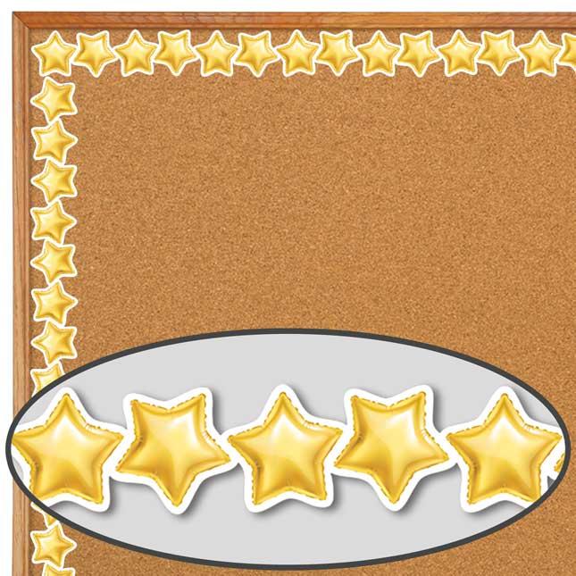 Gold Mylar Balloon Stars Border - 1 border trim