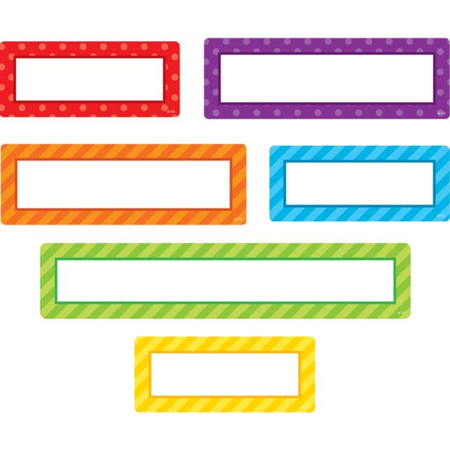 Clingy Thingies® Playful Patterns 6-Color Grouping Dry Erase Labels