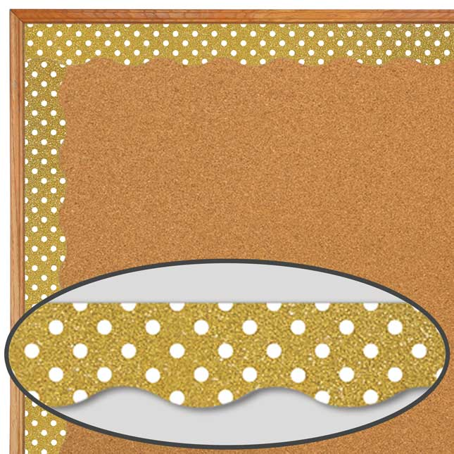 Clingy Thingies® Gold Shimmer With White Polka Dots Border Trim