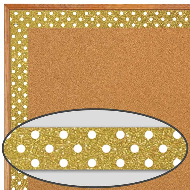 Clingy Thingies® Gold Shimmer With White Polka Dots Whiteboard Strips