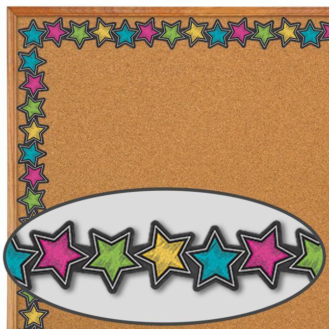 Chalkboard Brights Stars Diecut Border Trim