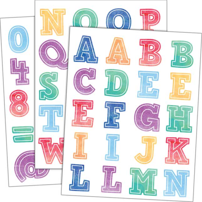 Watercolor Alphabet Stickers - 240 stickers