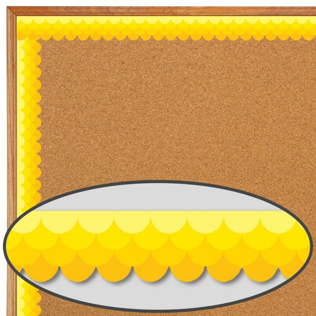 Yellow Ombré Scallop Painted Palette Border Trim