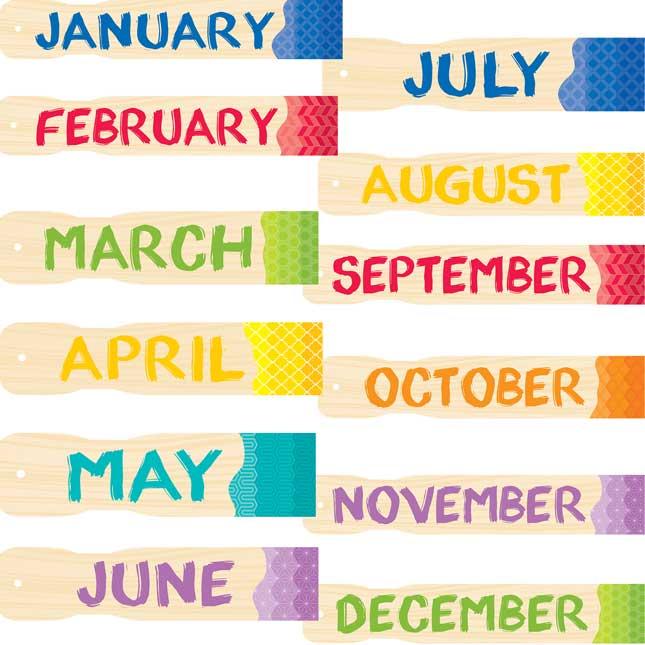 Painted Palette Calendar Bulletin Board Set