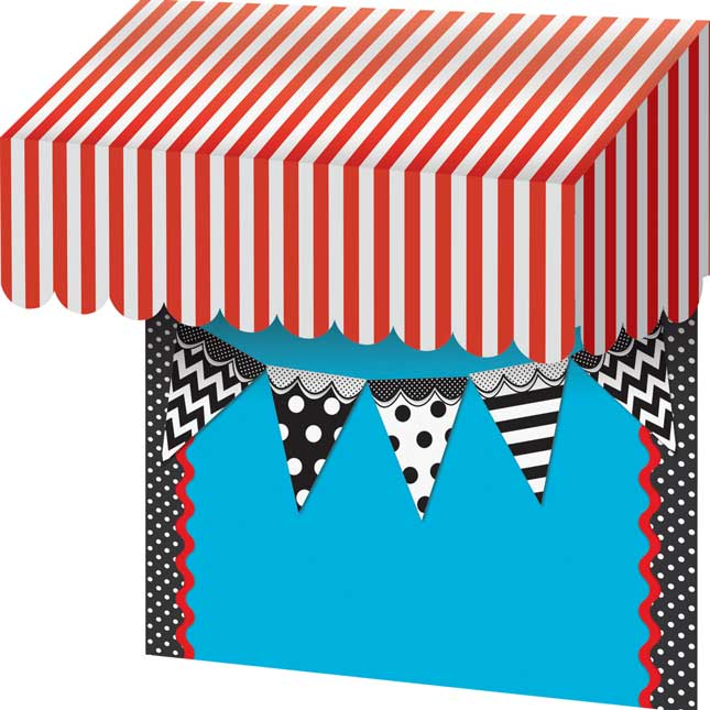 Red-And-White Stripes Awning