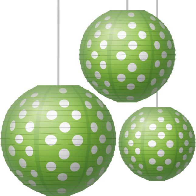 Lime Polka Dots Paper Lanterns