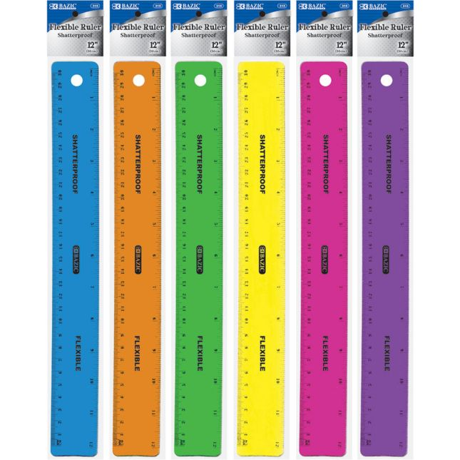 "Shatterproof Flexible Rulers 12"" - Set Of 12"